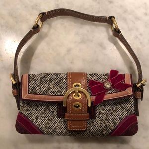COACH 💐 Soho Tweed Velvet Leather Demi Bag